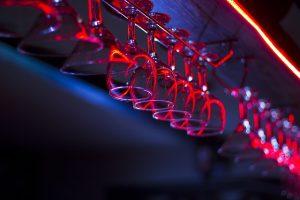 bar at night hanging glasses Perth