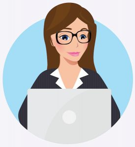 Business woman using laptop writing website copy