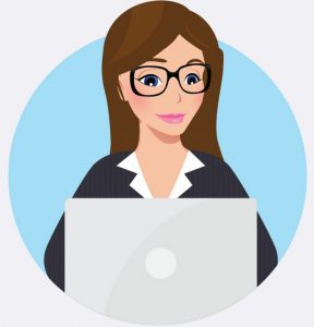 woman on laptop copywriting website content